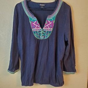 Lucky Brand XL Embroidered Boho Festival Blouse